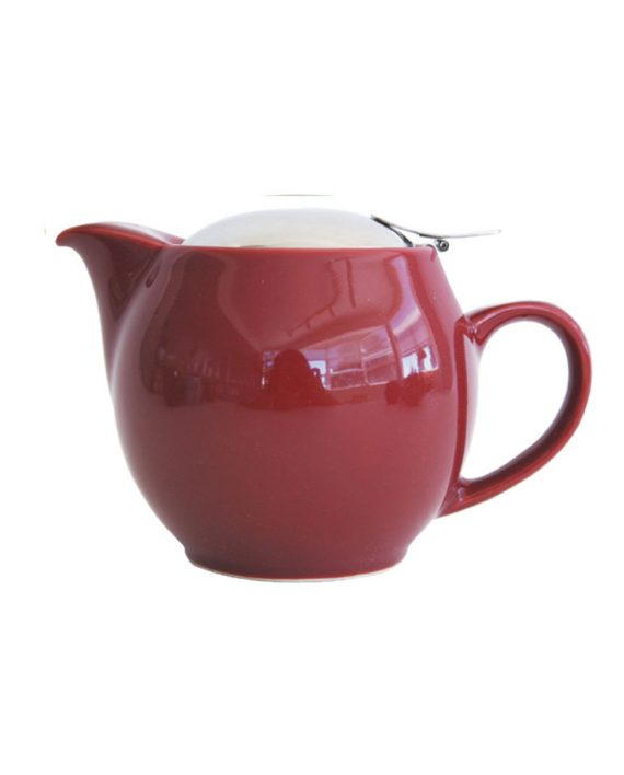 Burgundy teapot that holds 2-3 cups of tea